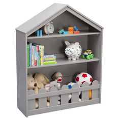 Organize your child's books, toys and other belongings with the Serta Happy Home Storage Bookcase. Accentuated by a gabled roofline, picket fence trim, and wood construction, this handy case works well in a playroom or child's bedroom. Childrens Bookcase, Bookshelves Kids, Toddler Bookcase, Billy Bookcases, Delta Children, Bookcase Storage, Playroom Decor, Playroom Table, Playroom Furniture