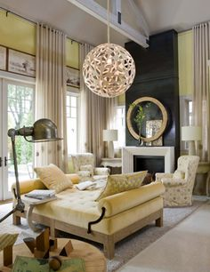 Cool designer alert- Barry Dixon Via Mix and Chic. Great use of mixed materials on the fireplace.