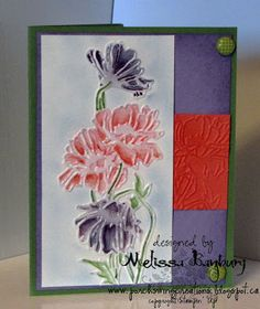 "By Melissa Banbury. Main image: Dry emboss watercolor paper with ""Flower Garden"" folder (Stampin' Up/Sizzix). Color flowers using marker or water brush with ink pads."