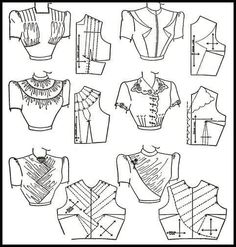 Like the first pattern top left in a semi-transparent material over a solid undershirt.