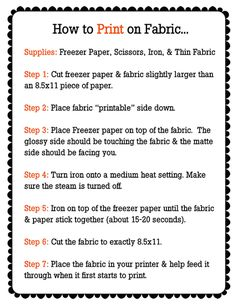 Print on fabric instructions - print pretty designs onto plain fabric.