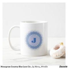 Monogram Country Blue Lace Circle Mug