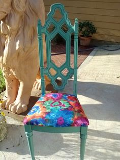 Green chair Tie dyed fabric at Daphney's Boutique