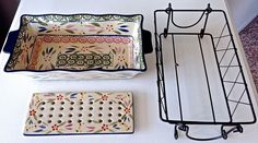 Temp-Tations 1.75 qt  Loaf Pan & Drip Tray w/ Rack Confetti Old World NEW In Box #TempTations