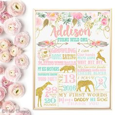 SALE Wild One First Birthday Party sign poster, Tribal 1st birthday board for GIRL, Boho milestone Chalkboard, Gold safari poster by PhiloDesignArt on Etsy