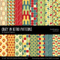 Crazy In Retro Patterns Digital Papers #retrobackground #scrapbooking #digitalpapers