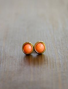 Perfectly Peachy Faceted Wire Wrapped Stud by JoviLyneCollection