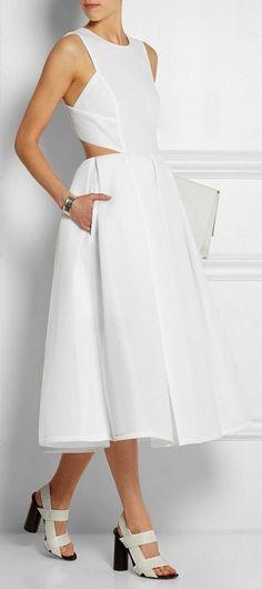'Scuba' Midi Dress in White