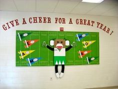 Give A Cheer For A Great Year! - Sports Inspired Back-To-School Bulletin Board inspiration Give A Cheer For A Great Year! - Sports Inspired Back-To-School Bulletin Board Idea Team Bulletin Board, Football Bulletin Boards, Back To School Bulletin Boards, Classroom Bulletin Boards, Classroom Ideas, School Wide Themes, School Ideas, Team Theme, Sport Theme