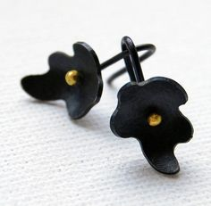 Oxidized Sterling Silver Earrings 18kt Gold by mariagotijoyas, €48.00