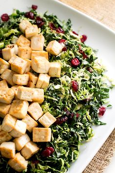 Warm Brussels Sprout & Kale Salad with Glazed Tofu | gluten-free, vegan Thanksgiving dish