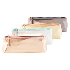 Poppin Metallic Pencil Pouches | The Container Store