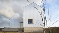 A pair of gabled buildings clad in corrugated aluminium make up this house Linköping, Sweden, designed by Björn Förstberg for his mother