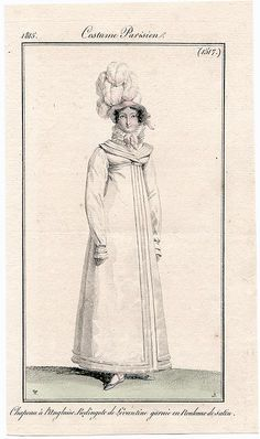 English style (plumed) hat & Eastern style dress trimmed in rolls of satin - Paris, France - 1815