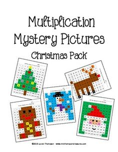 Christmas Math - Multiplication Mystery Pictures - This is a great fun way for kids to practice their multiplication facts! Solve the problems, then use the key to color in the boxes and create the 5 mystery picture!    Pictures are:  -Christmas tree  -Santa   -gingerbread man  -snowman  -Rudolph
