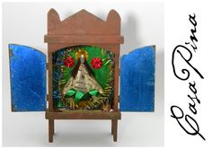 Retablo mexicano antiguo de la virgen de San Juan de los Lagos, Jalisco. Siglo 20 temprano. Preguntar  el Precio ~ Price Upon Request.