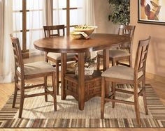 Cross Island 5pc Round Counter Height Table Set