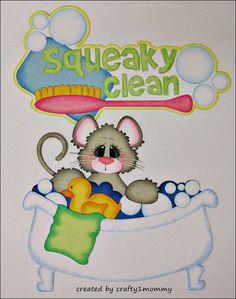 Squeaky Clean / Bath Time (Scrapbook Paper Piecings)
