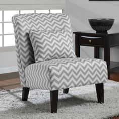 Accent Chair in Anna Grey/ White Chevron