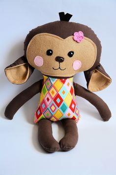 Monkey - www.paniniteczka.com Kind Person, Red Riding Hood, Chipmunks, Monkeys, Hello Kitty, Sewing Projects, Teddy Bear, Dolls, Creative