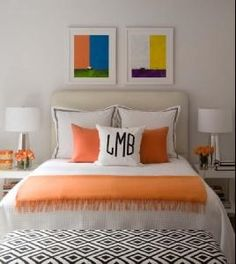 monogramed pillow on bed. Im def getting some for our bedroom when we redo it