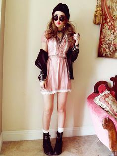Grunge. Hispster. Pink Dress. Lace. Black Boots. Jacket. Cross. Girl. Shades.  Adorable. Cute. Studs. Beanie.