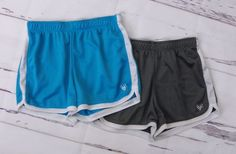 Lot of 2 Girls JUSTICE Blue Gray Striped Elastic Waist Athletic Shorts Size 12 #Justice #Everyday