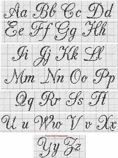 ~ Cursive Upper & Lower Alphabet with Heart Cross Stitch Pattern Yy Cross Stitch Letter Patterns, Cross Stitch Letters, Cross Stitch Borders, Cross Stitch Designs, Cross Stitching, Cross Stitch Embroidery, Stitch Patterns, Cross Stitch Font, Loom Patterns