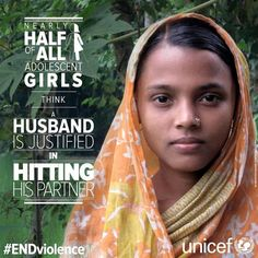 Nearly half of all adolescent girls think a husband is justified in hitting his partner. #ENDviolence via @UNICEF