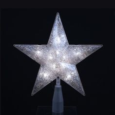 10 Lighted Silver Glittered 5Point Star Christmas Tree Topper  Clear Lights ** You can get more details by clicking on the image.