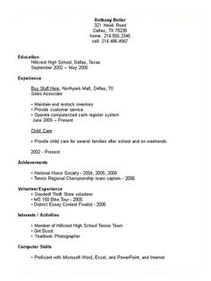 Resume Examples: Student Examples Collge High School Resume ...