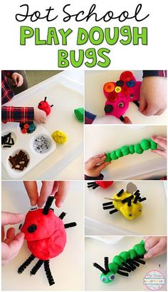 We loved exploring this insect themed play dough tray perfect for tot school, preschool, or kindergarten. Insect Activities, Spring Activities, Kindergarten Activities, Sensory Activities, Toddler Activities, Preschool Bug Theme, Preschool Crafts, Crafts For Kids, Preschool Printables