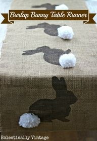 Bunny Burplap Table Runner DIY with tutorial