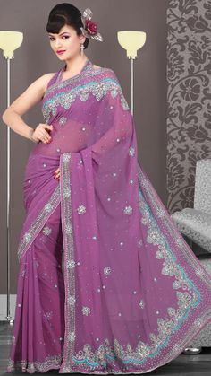 US$ 190.92 Pink Chiffon Embroidered Saree with Blouse | Get It Here: http://www.sareegalaxy.com/pages/itemlarge.aspx?itemcode=SVD3I14074