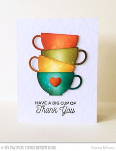 Handmade card from Donna Mikasa featuring Laina Lamb Design Cup of Tea stamp set and Tea Party Die-namics in use #mftstamps