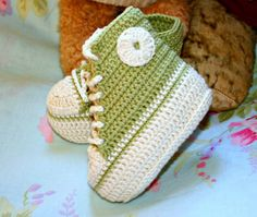 Baby booties Crochet for baby Eco friendly by crochetyknitsnbits, £15.99