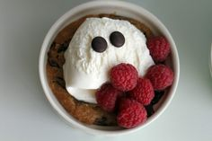 """Passion 4 baking """"Baked Chocolate Chip Cookie Cups. with ice cream & raspberries.  ~  Or use the dough to make chocolate chip cookies."""