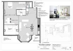 Proyecto de reforma integral de vivienda. Propuesta 1. Plano explicativo de actuaciones con vista 3D e inspiraciones estéticas.