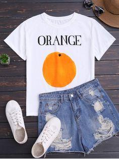 Short Sleeve Orange Print T-Shirt - WHITE ONE SIZE