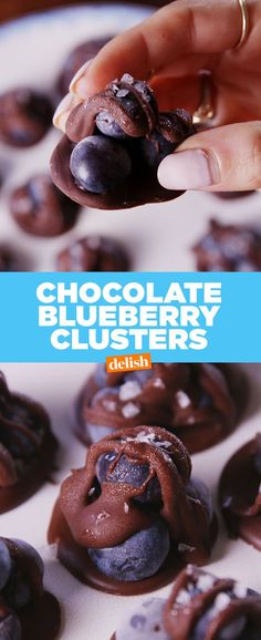 Clusters Chocolate Blueberry Clusters are the healthy dessert you'll never feel guilty finishing. Get the recipe from .Chocolate Blueberry Clusters are the healthy dessert you'll never feel guilty finishing. Get the recipe from . Köstliche Desserts, Low Carb Desserts, Health Desserts, Delicious Desserts, Dessert Recipes, Yummy Food, Fruit Recipes, Cake Recipes, Snack Recipes