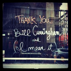 Thank you Bill Cunningham (and I mean it)