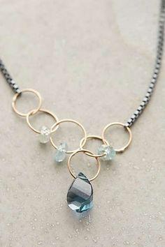 Anthropologie - Linked Topaz Necklace love the crystal beads free-flowing in ri. Colar Fashion, Fashion Necklace, Fashion Face, Fall Fashion, Style Fashion, Wire Jewelry, Beaded Jewelry, Jewelry Necklaces, Jewellery