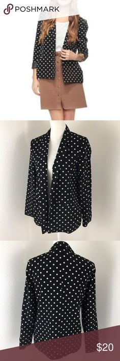 Forever 21 Black & White Silky Polka Dot Blazer Forever 21 polka dot black and white blazer. Pockets and open front. Like new condition. Length from armpit: 18.5 inches Shoulder Seam to Shoulder Seam: 18 inches Forever 21 Jackets & Coats Blazers