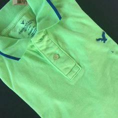 American Eagle Mens Cotton Green Blue Tipped Golf Polo Shirt Classic Fit  L NEW #AmericanEagle #Polo