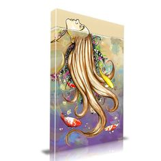 'Swim With the Fishes' Graffiti Graphic Art on Wrapped Canvas