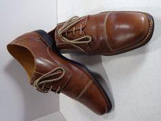 SANDRO MOSCOLONI Size 15D Cognac Leather Mens Norridge Cap Toe Derby Ox Oxford #SandroMoscoloni #Oxfords