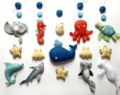 """BABY BOY MOBILE """"The blue whale"""" made with wool felt / Sea creature, ocean mobile for crib"""