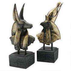 Gods of Ancient Egypt Sculptures: Anubis and Horus