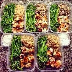 """Instagram media by mealprepmondays - By the awesome @fit_to_eat: """"This mealprep last night was pretty easy. 1/2 cup brown rice (top 2 have a mix of wild rice too; that's how I use leftovers)    3.5 oz marinated chicken souvlaki    90g steamed seasoned broccolini    30g greek yogurt tatziki (store bought); the rest of these little containers were in the dishwasher time of pic because I've been eating lots if tatziki lately . Also made ground turkey and more kabocha to be on standby for other…"""