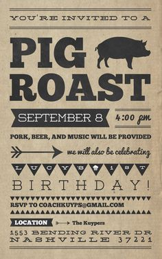 Pig roast invitations. Vintage rustic style. Easy to customize and ...